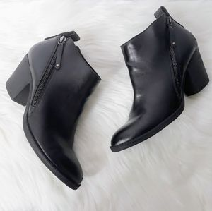 Dolce Vita Black Faux Leather Zip Ankle Booties